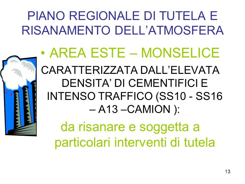 13 PIANO REGIONALE DI TUTELA E RISANAMENTO DELLATMOSFERA AREA ESTE – MONSELICE CARATTERIZZATA DALLELEVATA DENSITA DI CEMENTIFICI E INTENSO TRAFFICO (SS10 - SS16 – A13 –CAMION ): da risanare e soggetta a particolari interventi di tutela