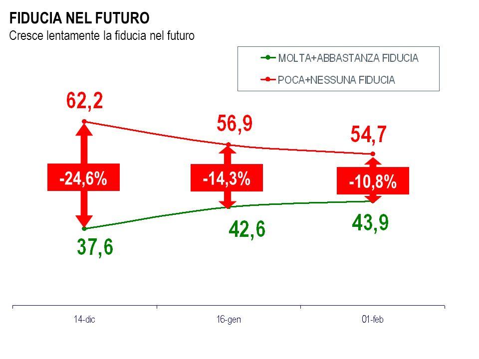 FIDUCIA NEL FUTURO Cresce lentamente la fiducia nel futuro -24,6% -14,3% -10,8%