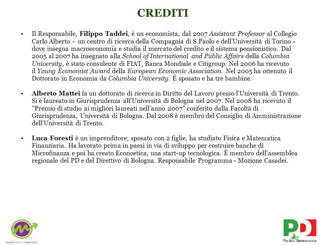 CREDITI Il Responsabile, Filippo Taddei, è un economista, dal 2007 Assistant Professor al Collegio Carlo Alberto – un centro di ricerca della Compagni