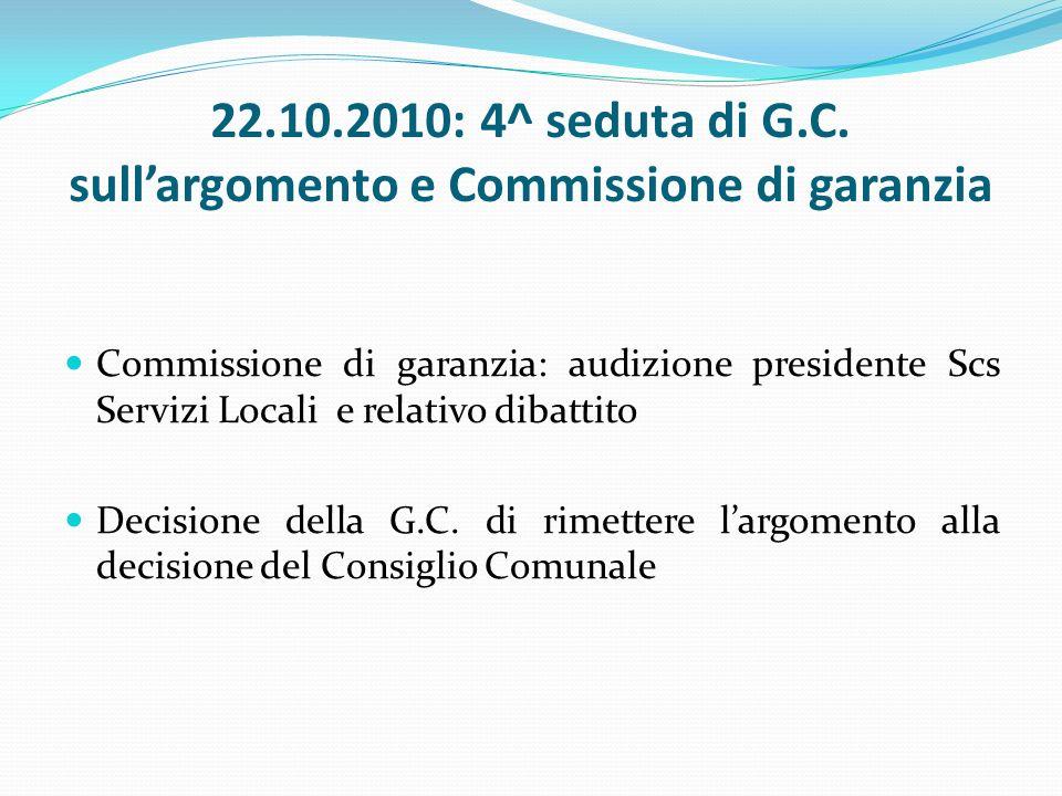 22.10.2010: 4^ seduta di G.C.