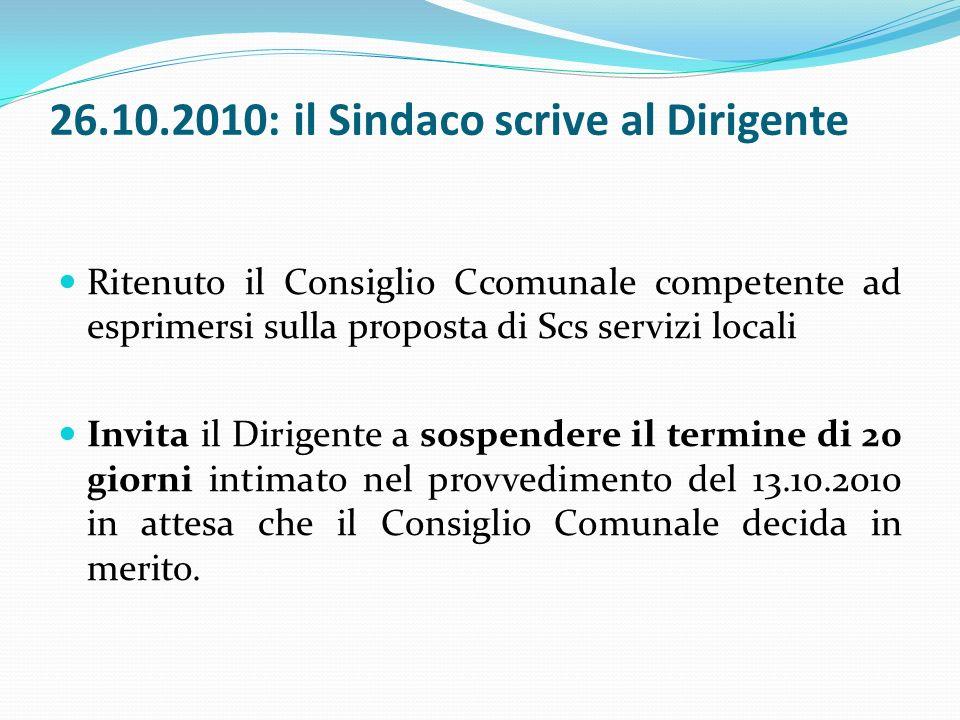 27.10.2010: sospensione termini dellavvio del procedimento ex artt.