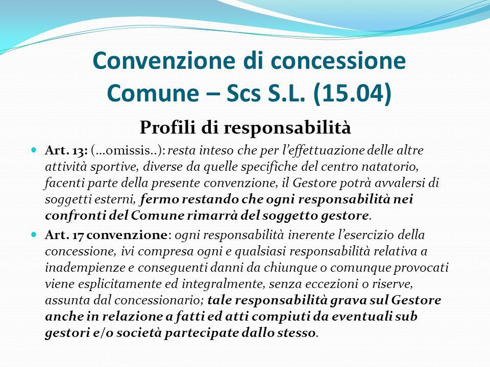 Convenzione di concessione Comune – Scs S.L. (15.04) Profili di responsabilità Art.