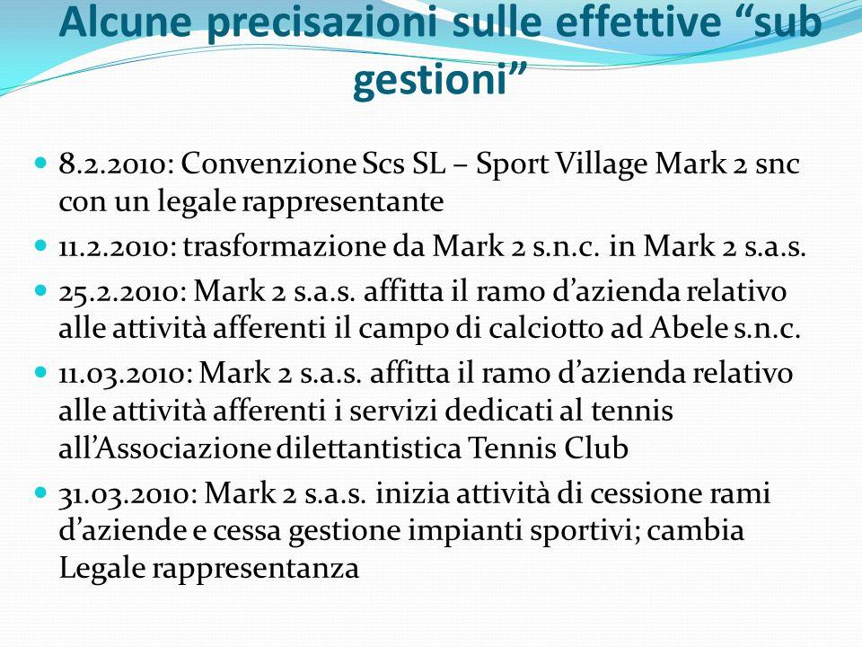 Alcune precisazioni sulle effettive sub gestioni 8.2.2010: Convenzione Scs SL – Sport Village Mark 2 snc con un legale rappresentante 11.2.2010: trasformazione da Mark 2 s.n.c.