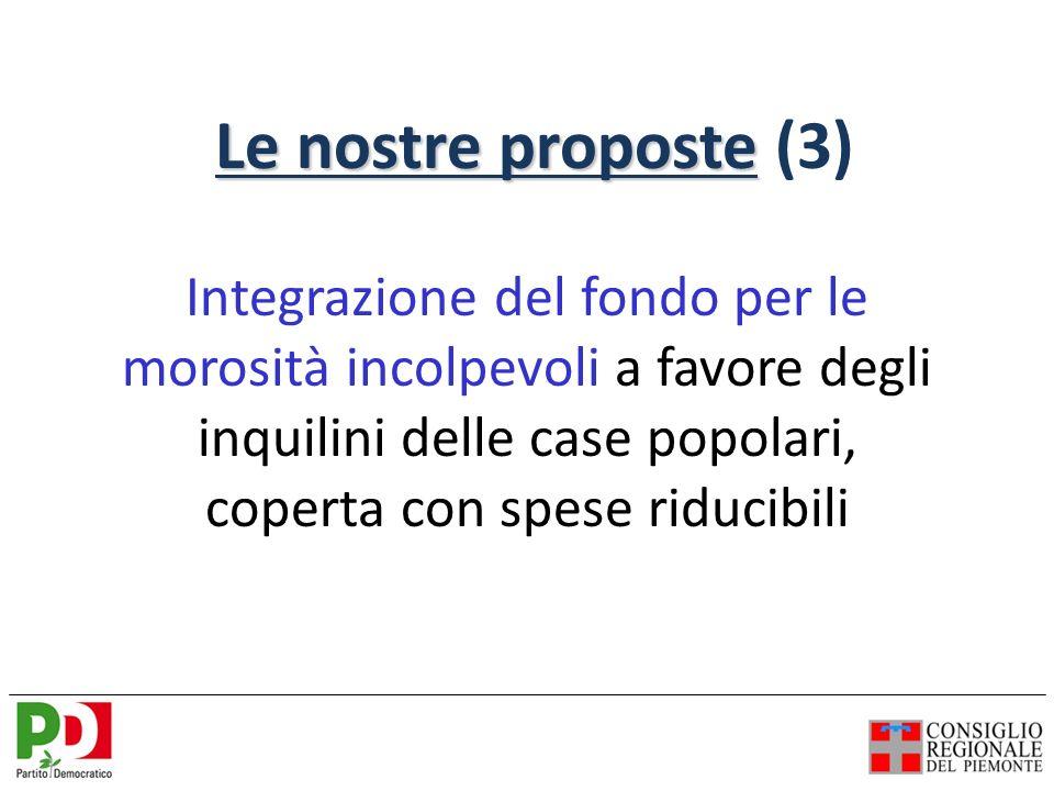 Integrazione del fondo per le morosità incolpevoli a favore degli inquilini delle case popolari, coperta con spese riducibili Le nostre proposte Le nostre proposte (3)