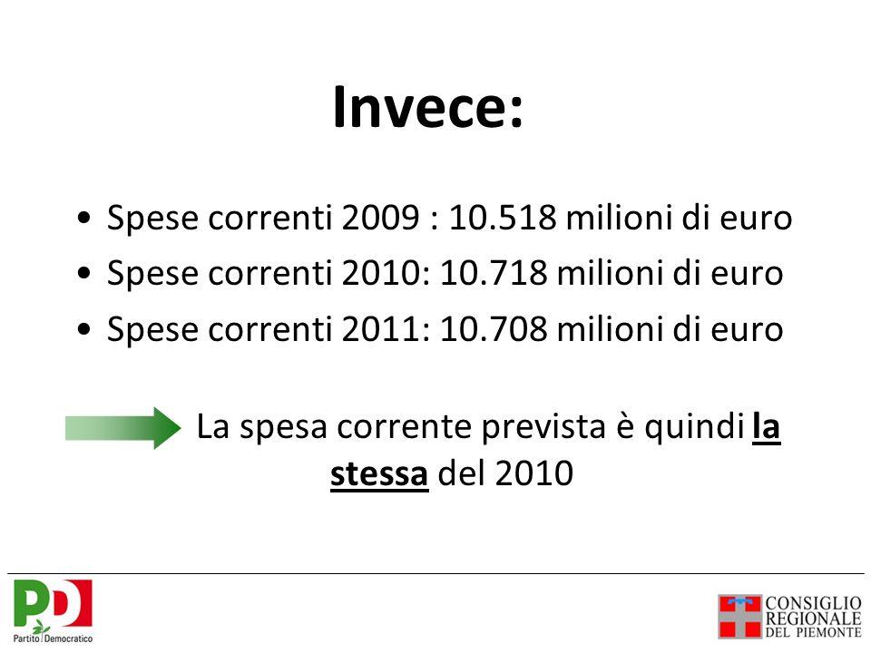 Invece: Spese correnti 2009 : 10.518 milioni di euro Spese correnti 2010: 10.718 milioni di euro Spese correnti 2011: 10.708 milioni di euro La spesa