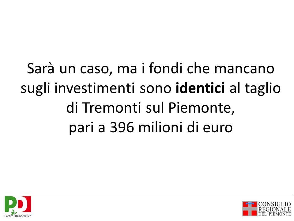 Sarà un caso, ma i fondi che mancano sugli investimenti sono identici al taglio di Tremonti sul Piemonte, pari a 396 milioni di euro