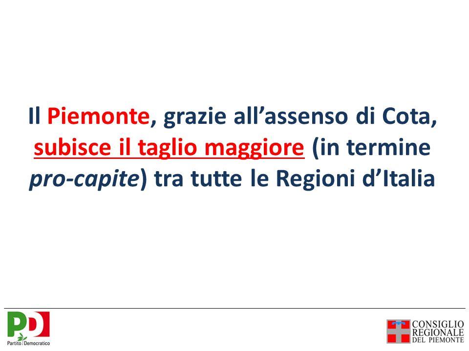 Il Piemonte, grazie allassenso di Cota, subisce il taglio maggiore (in termine pro-capite) tra tutte le Regioni dItalia