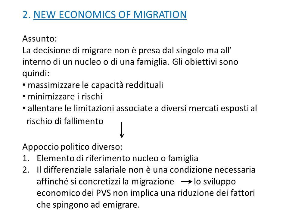 2. NEW ECONOMICS OF MIGRATION Assunto: La decisione di migrare non è presa dal singolo ma all interno di un nucleo o di una famiglia. Gli obiettivi so