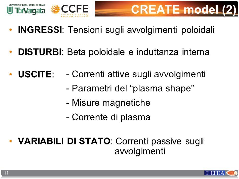 11 CREATE model (2) INGRESSI: Tensioni sugli avvolgimenti poloidali DISTURBI: Beta poloidale e induttanza interna USCITE: VARIABILI DI STATO: Correnti