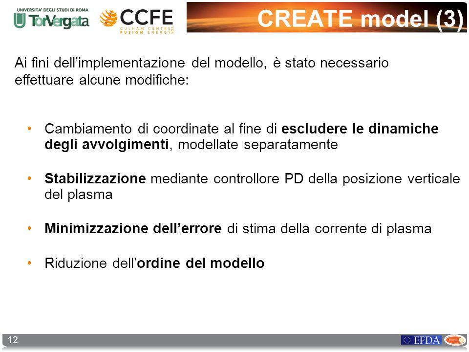 12 CREATE model (3) Ai fini dellimplementazione del modello, è stato necessario effettuare alcune modifiche: Cambiamento di coordinate al fine di escl