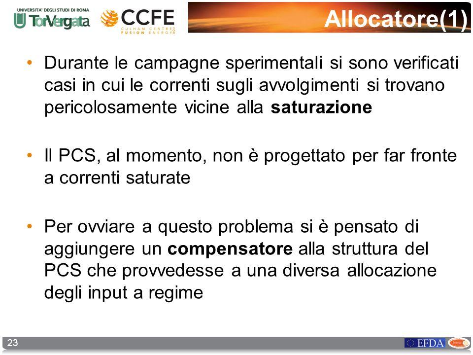 23 Allocatore(1) Durante le campagne sperimentali si sono verificati casi in cui le correnti sugli avvolgimenti si trovano pericolosamente vicine alla