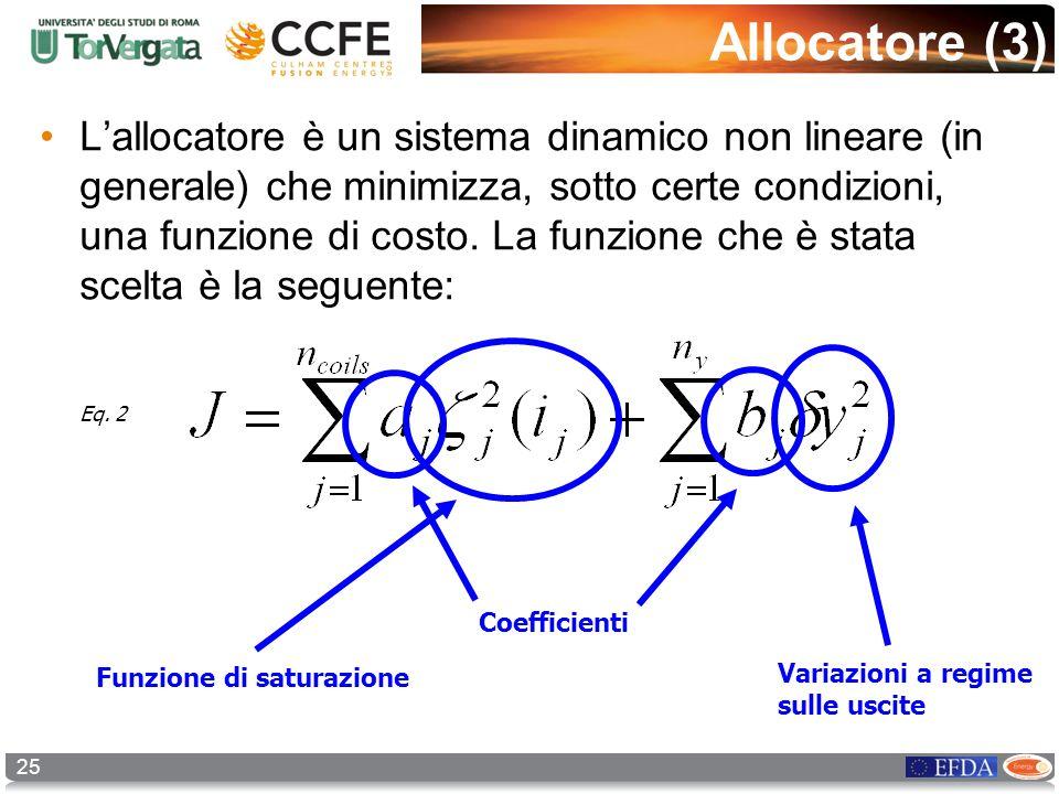 25 Allocatore (3) Lallocatore è un sistema dinamico non lineare (in generale) che minimizza, sotto certe condizioni, una funzione di costo. La funzion