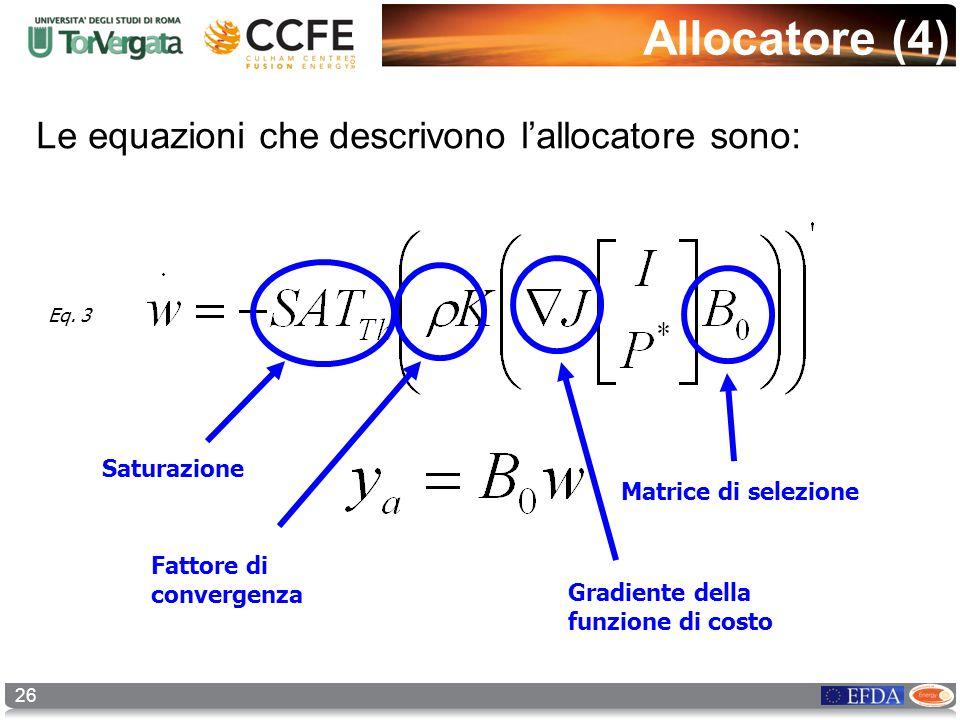 26 Allocatore (4) Le equazioni che descrivono lallocatore sono: Matrice di selezione Gradiente della funzione di costo Fattore di convergenza Saturazi