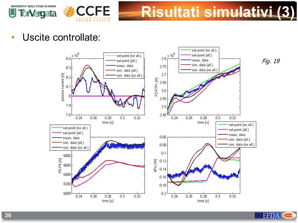 36 Risultati simulativi (3) Uscite controllate: Fig. 19