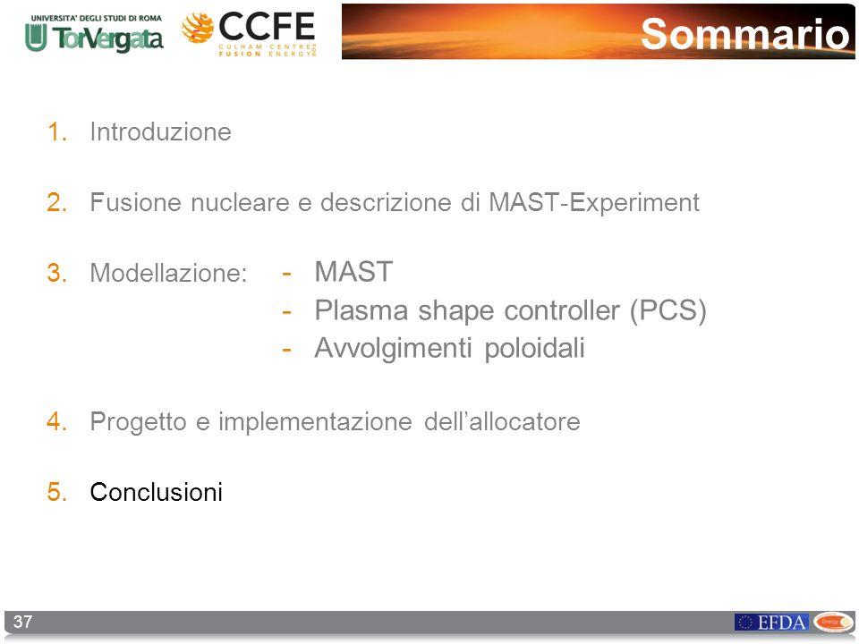 Sommario 37 1.Introduzione 2.Fusione nucleare e descrizione di MAST-Experiment 3.Modellazione: 4.Progetto e implementazione dellallocatore 5.Conclusio