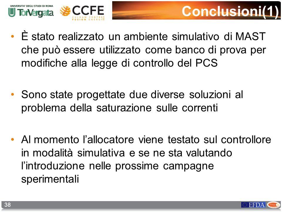 38 Conclusioni(1) È stato realizzato un ambiente simulativo di MAST che può essere utilizzato come banco di prova per modifiche alla legge di controll