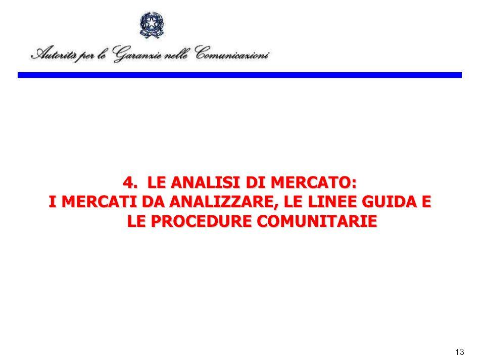 13 4.LE ANALISI DI MERCATO: I MERCATI DA ANALIZZARE, LE LINEE GUIDA E LE PROCEDURE COMUNITARIE