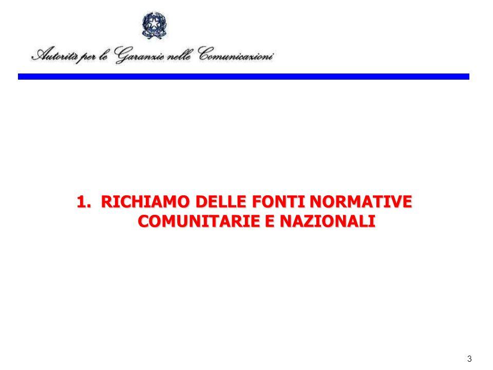 3 1.RICHIAMO DELLE FONTI NORMATIVE COMUNITARIE E NAZIONALI