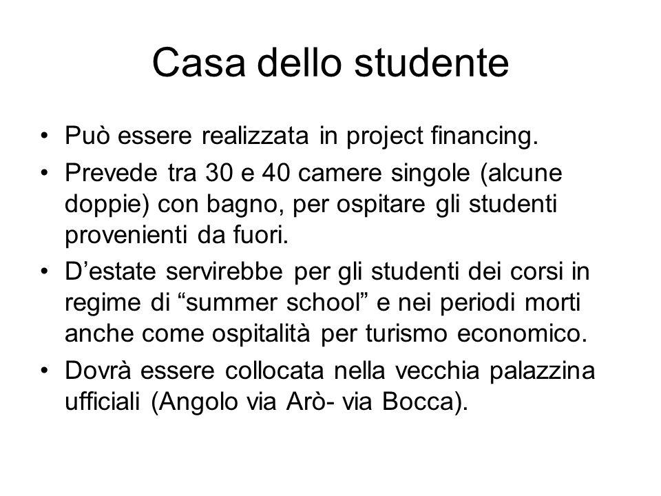 Casa dello studente Può essere realizzata in project financing.