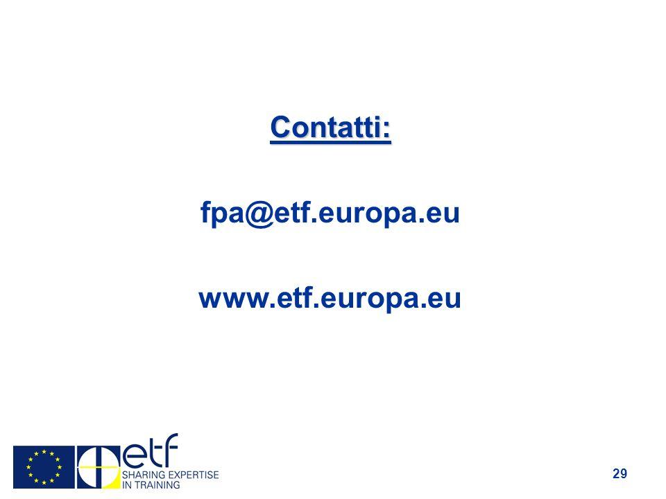 29 Contatti: fpa@etf.europa.eu www.etf.europa.eu