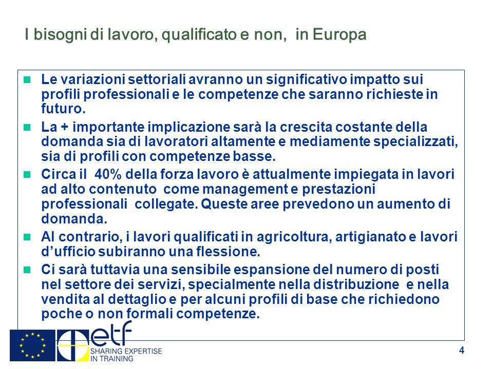 4 I bisogni di lavoro, qualificato e non, in Europa Le variazioni settoriali avranno un significativo impatto sui profili professionali e le competenze che saranno richieste in futuro.