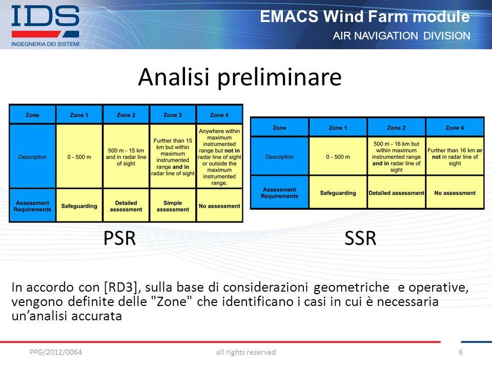 AIR NAVIGATION DIVISION EMACS Wind Farm module Analisi accurata Shadowing Copertura Radioelettrica Degradazione del pattern dantenna Off Boresight Angle (OBA) Error Falsi Echi PPG/2012/0064all rights reserved7 EMACS work station