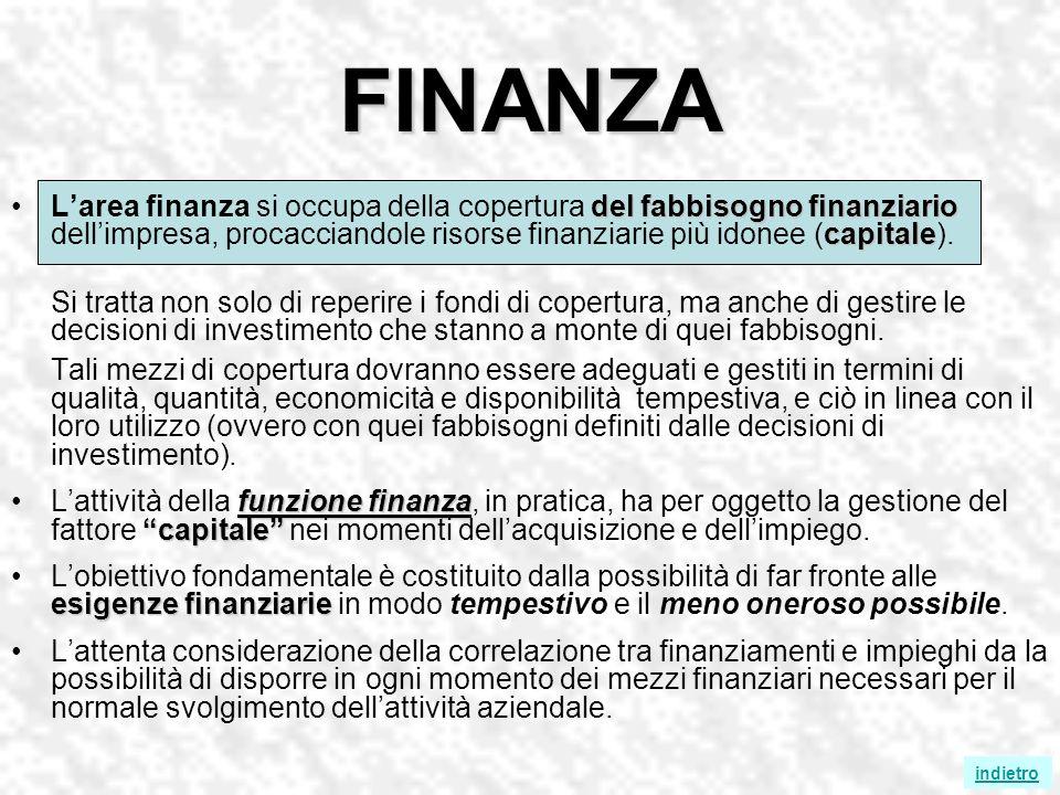 FINANZA del fabbisogno finanziario capitaleLarea finanza si occupa della copertura del fabbisogno finanziario dellimpresa, procacciandole risorse finanziarie più idonee (capitale).