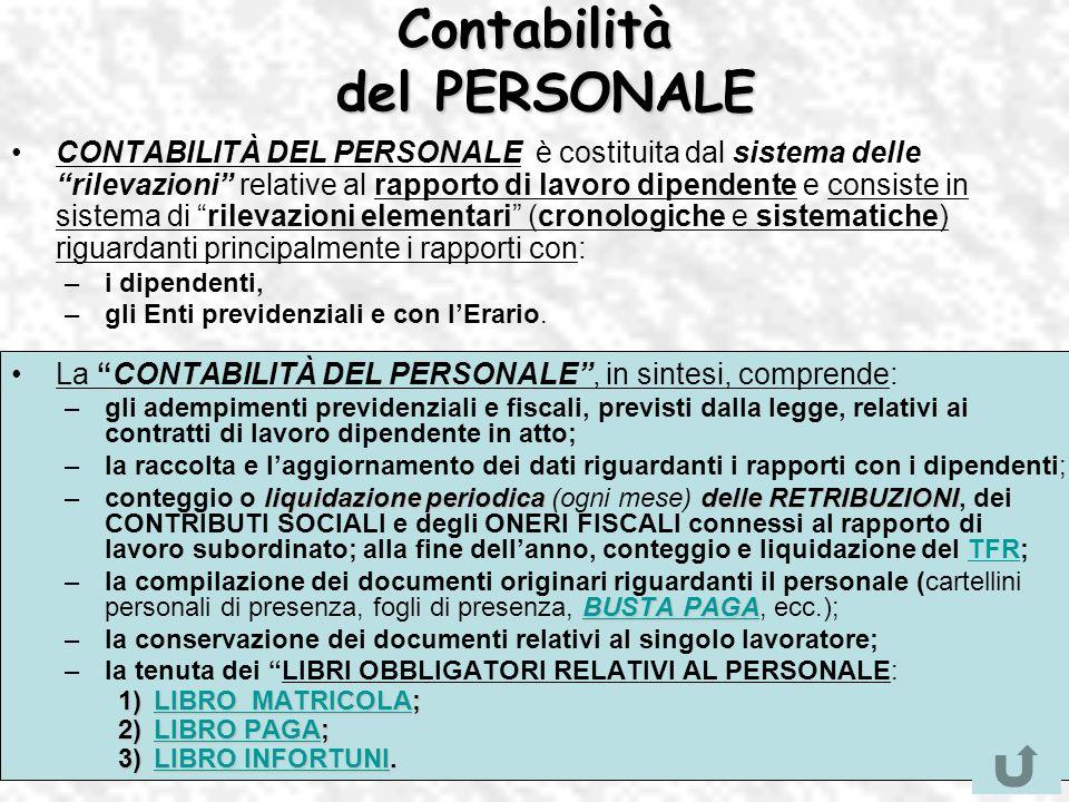 Contabilità del PERSONALE CONTABILITÀ DEL PERSONALE è costituita dal sistema delle rilevazioni relative al rapporto di lavoro dipendente e consiste in
