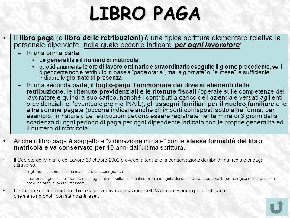 LIBRO PAGA libro paga per ogni lavoratoreIl libro paga (o libro delle retribuzioni) è una tipica scrittura elementare relativa la personale dipendete,