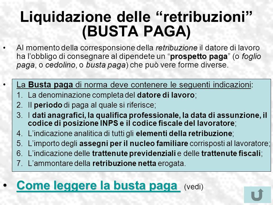 Liquidazione delle retribuzioni (BUSTA PAGA) retribuzione prospetto pagafoglio pagacedolinobusta pagaAl momento della corresponsione della retribuzion