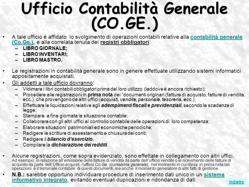 Ufficio Contabilità Generale (CO.GE.) contabilità generale (Co.Ge,)contabilità generale (Co.Ge,),A tale ufficio è affidato lo svolgimento di operazion