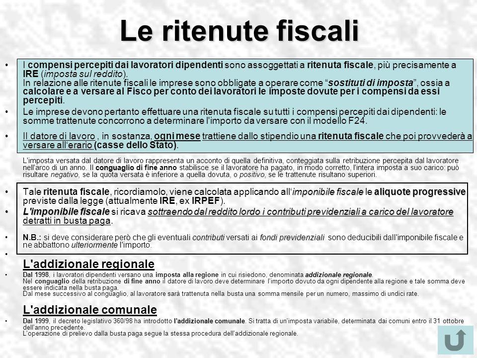 Le ritenute fiscali I compensi percepiti dai lavoratori dipendenti sono assoggettati a ritenuta fiscale, più precisamente a IRE (imposta sul reddito).
