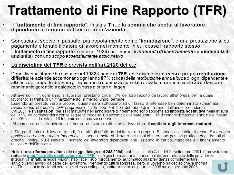Trattamento di Fine Rapporto (TFR) trattamento di fine rapportoIl trattamento di fine rapporto , in sigla Tfr, è la somma che spetta al lavoratore dipendente al termine del lavoro in un azienda.