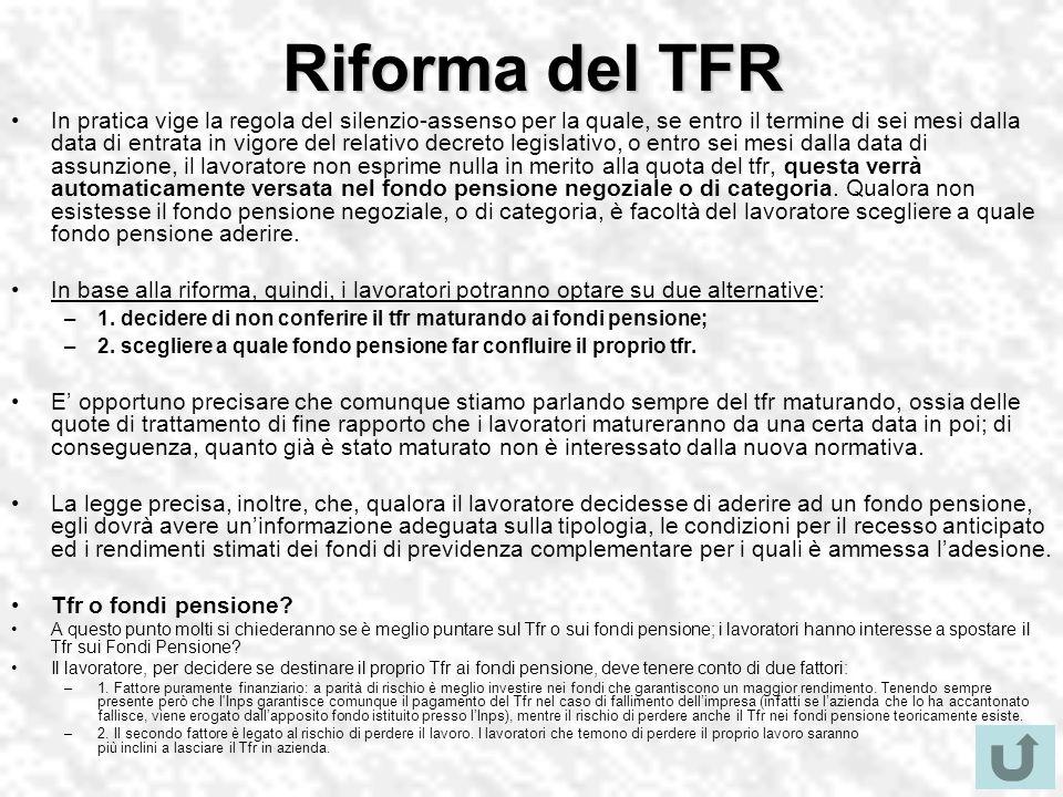 Riforma del TFR In pratica vige la regola del silenzio-assenso per la quale, se entro il termine di sei mesi dalla data di entrata in vigore del relat