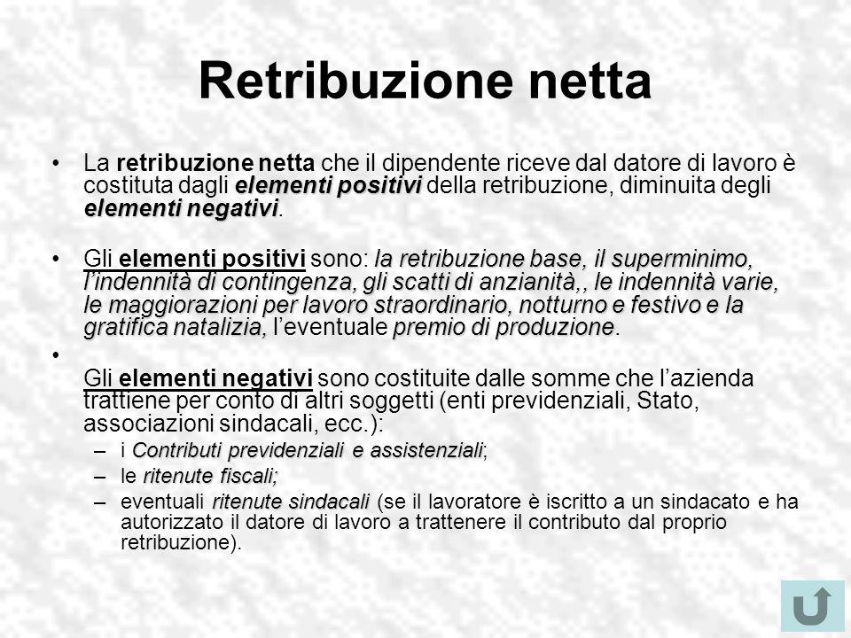 Retribuzione netta elementi positivi elementi negativiLa retribuzione netta che il dipendente riceve dal datore di lavoro è costituta dagli elementi positivi della retribuzione, diminuita degli elementi negativi.