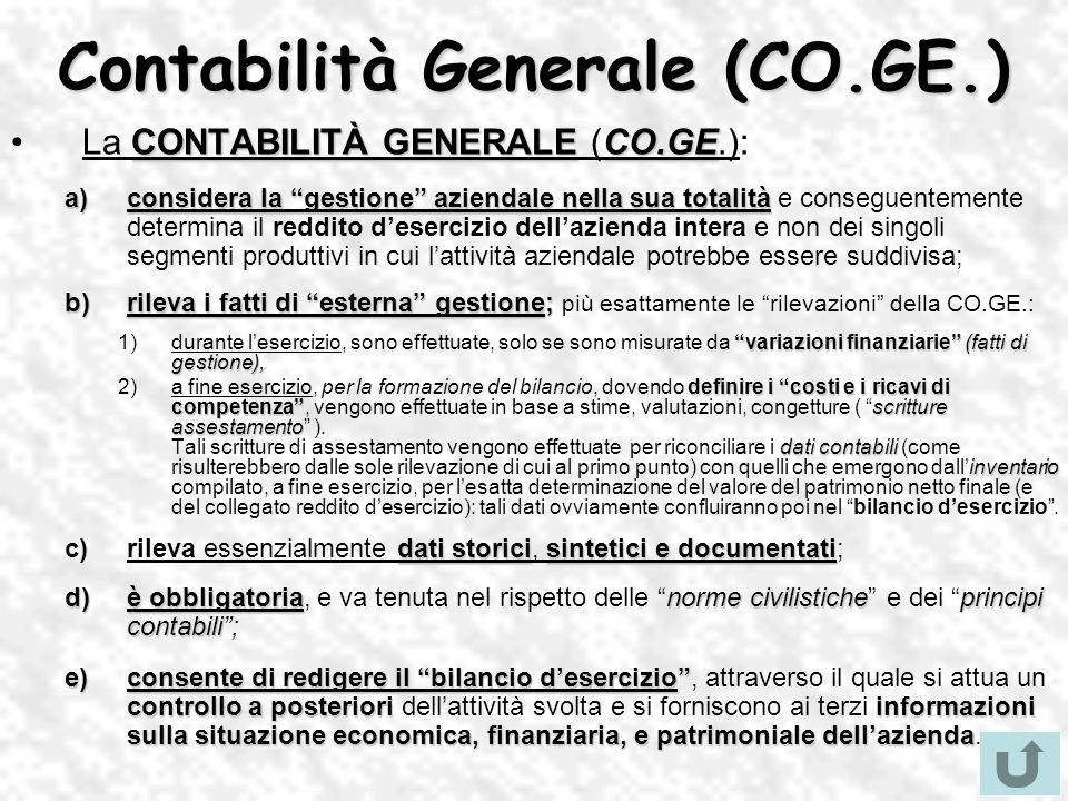 Contabilità Generale (CO.GE.) CONTABILITÀ GENERALECO.GELa CONTABILITÀ GENERALE (CO.GE.): a)considera la gestione aziendale nella sua totalità a)consid