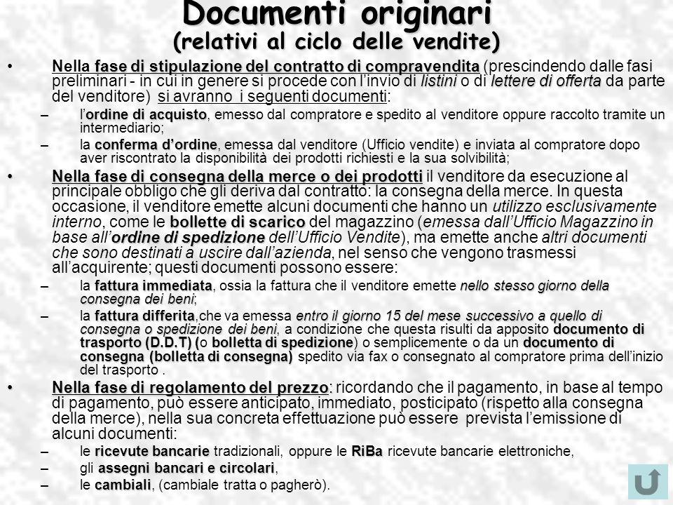 Documenti originari (relativi al ciclo delle vendite) fase di stipulazione del contratto di compravendita listinilettere di offertaNella fase di stipu
