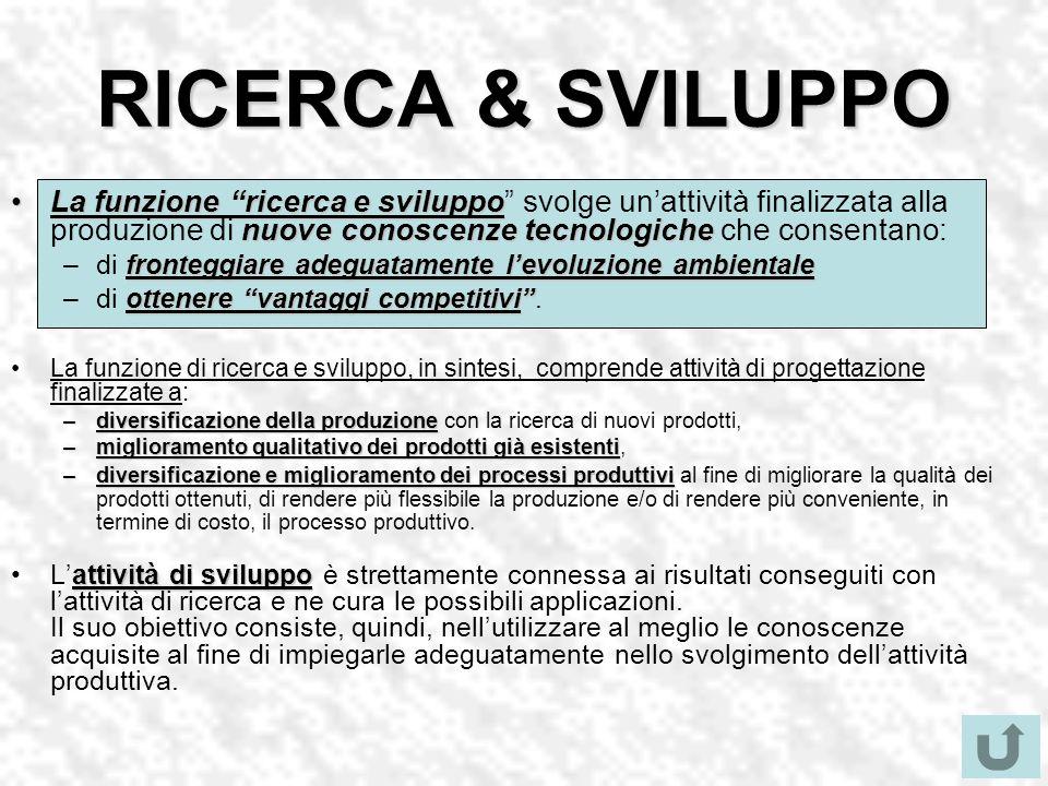 RICERCA & SVILUPPO La funzione ricerca e sviluppo nuove conoscenze tecnologicheLa funzione ricerca e sviluppo svolge unattività finalizzata alla produ