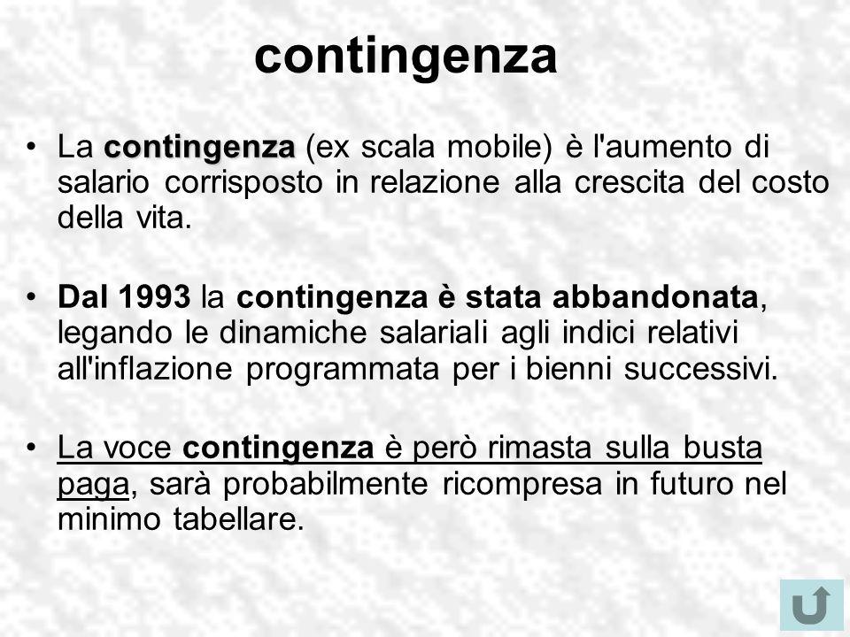 contingenza contingenzaLa contingenza (ex scala mobile) è l'aumento di salario corrisposto in relazione alla crescita del costo della vita. Dal 1993 l