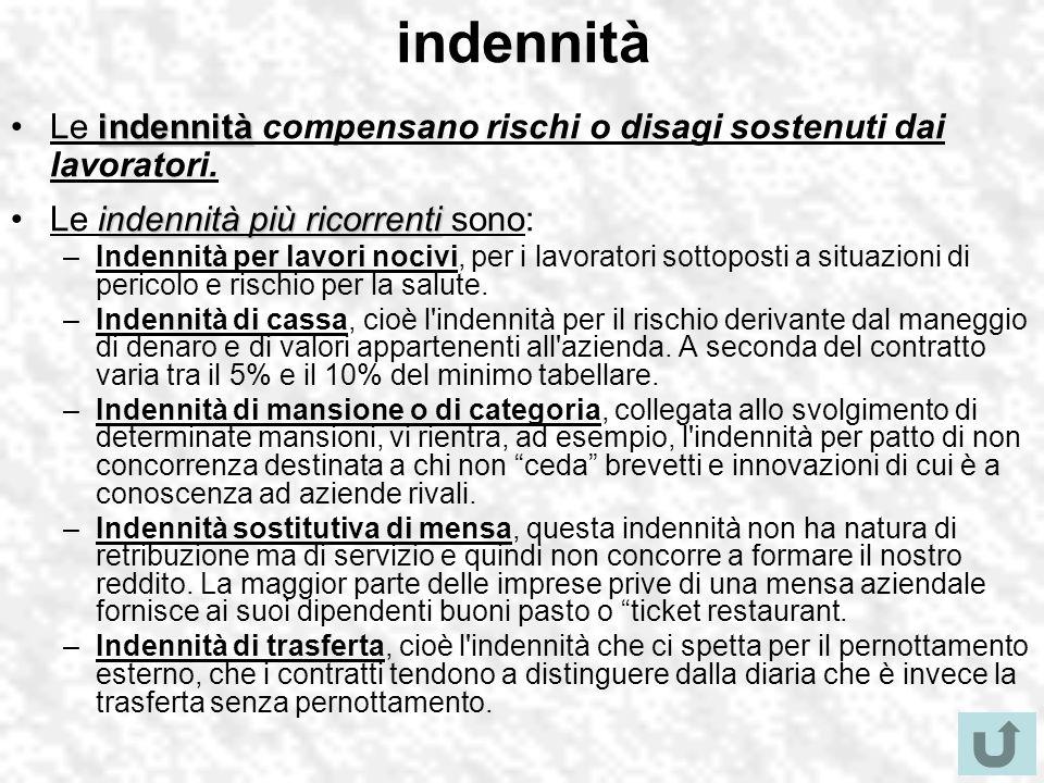indennità indennitàLe indennità compensano rischi o disagi sostenuti dai lavoratori. indennità più ricorrentiLe indennità più ricorrenti sono: –Indenn
