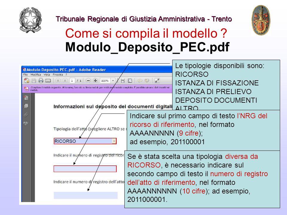 Come si compila il modello ? Modulo_Deposito_PEC.pdf Le tipologie disponibili sono: RICORSO ISTANZA DI FISSAZIONE ISTANZA DI PRELIEVO DEPOSITO DOCUMEN