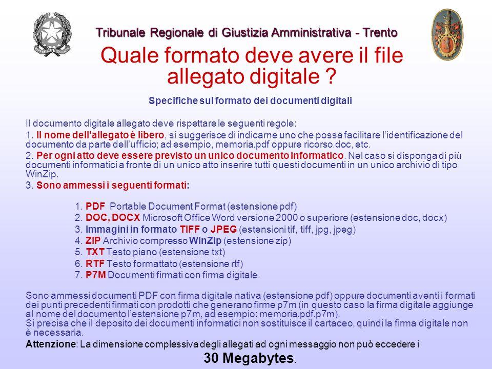 Quale formato deve avere il file allegato digitale ? Specifiche sul formato dei documenti digitali Il documento digitale allegato deve rispettare le s