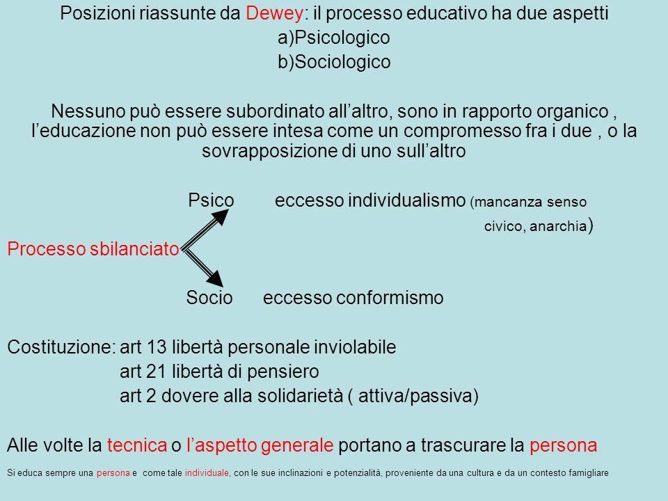 Posizioni riassunte da Dewey: il processo educativo ha due aspetti a)Psicologico b)Sociologico Nessuno può essere subordinato allaltro, sono in rappor