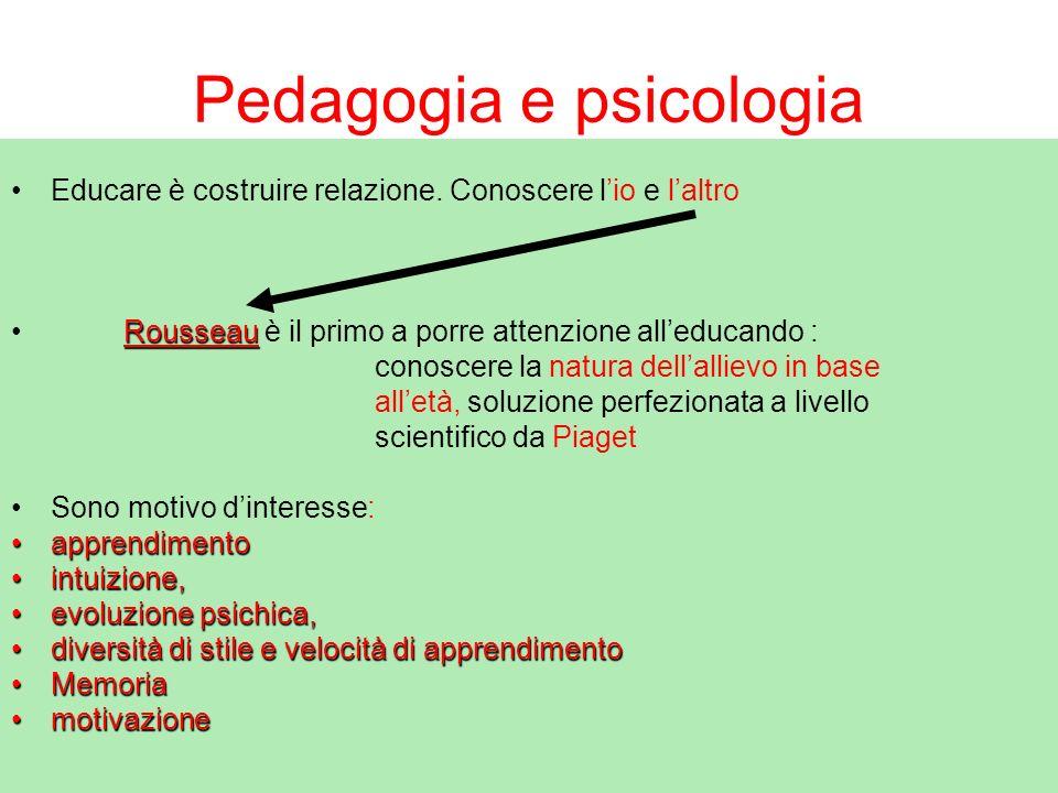 Pedagogia e psicologia Educare è costruire relazione. Conoscere lio e laltro Rousseau Rousseau è il primo a porre attenzione alleducando : conoscere l