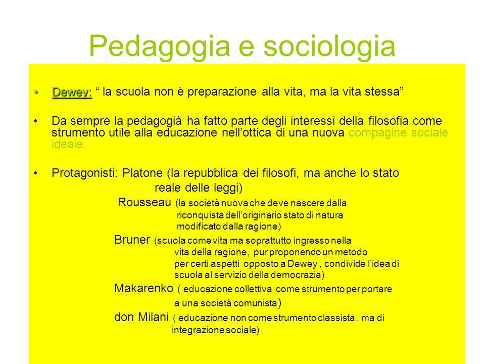 Pedagogia e sociologia Dewey:Dewey: la scuola non è preparazione alla vita, ma la vita stessa Da sempre la pedagogià ha fatto parte degli interessi de