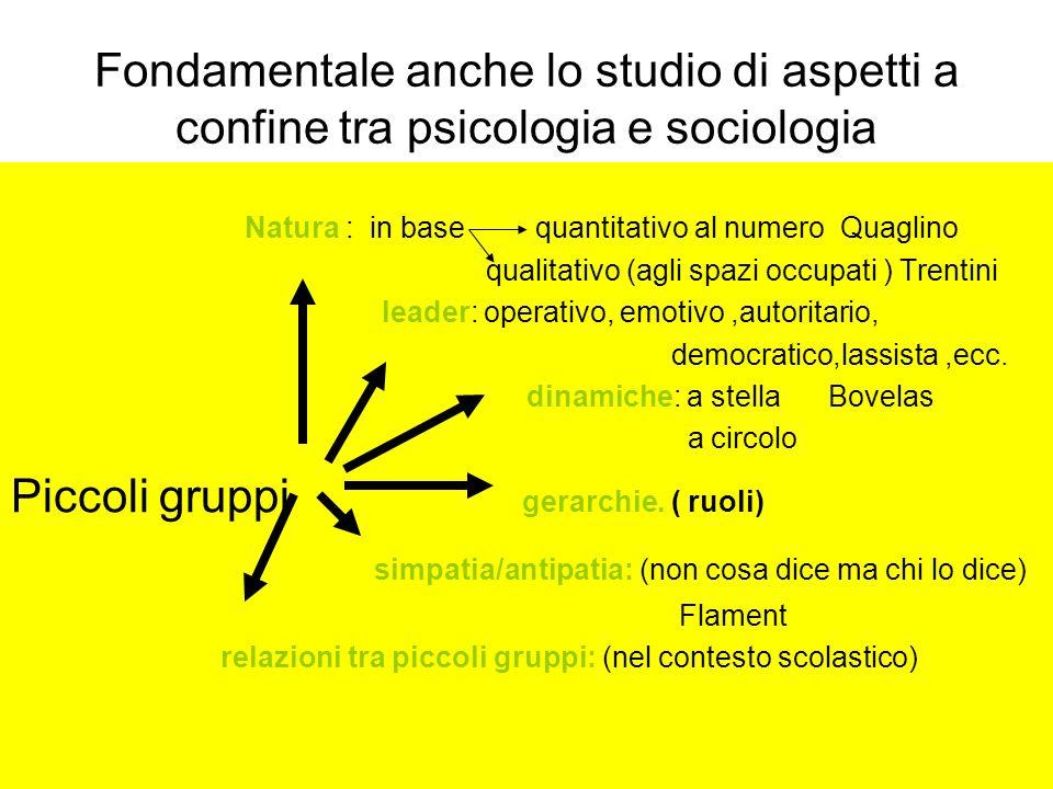 Fondamentale anche lo studio di aspetti a confine tra psicologia e sociologia Natura : in base quantitativo al numero Quaglino qualitativo (agli spazi