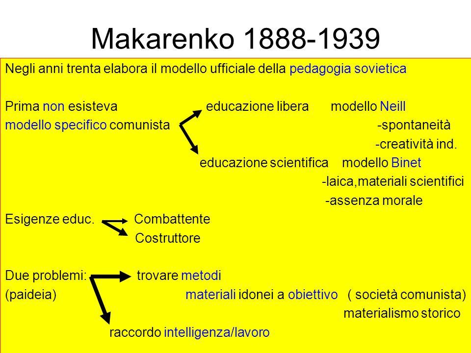Makarenko 1888-1939 Negli anni trenta elabora il modello ufficiale della pedagogia sovietica Prima non esisteva educazione libera modello Neill modell
