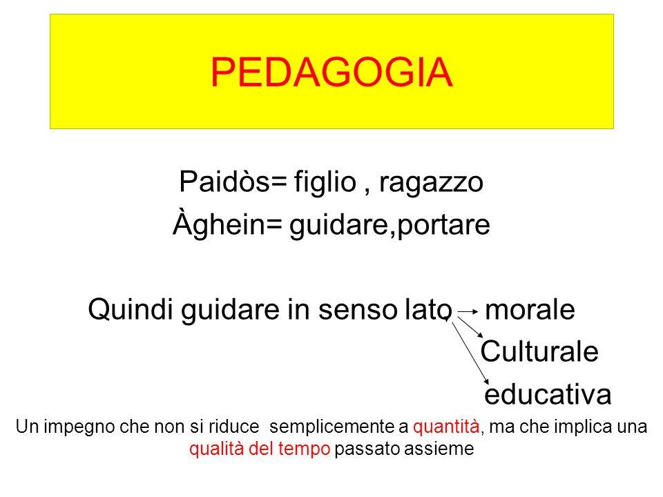 PEDAGOGIA Paidòs= figlio, ragazzo Àghein= guidare,portare Quindi guidare in senso lato morale Culturale educativa Un impegno che non si riduce semplic