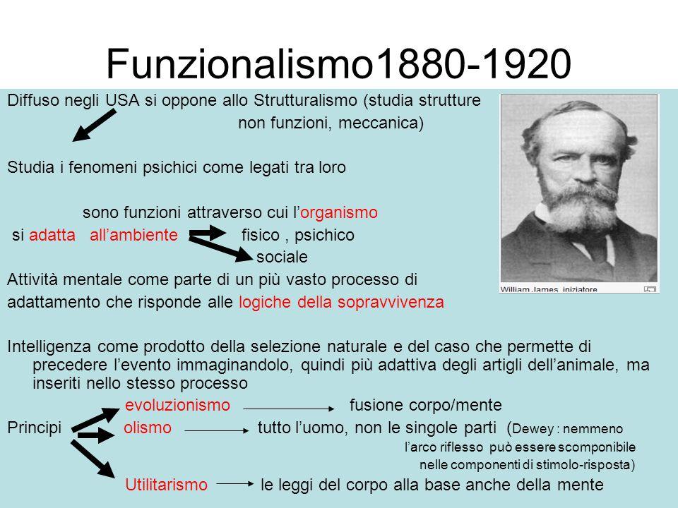 Funzionalismo1880-1920 Diffuso negli USA si oppone allo Strutturalismo (studia strutture non funzioni, meccanica) Studia i fenomeni psichici come lega