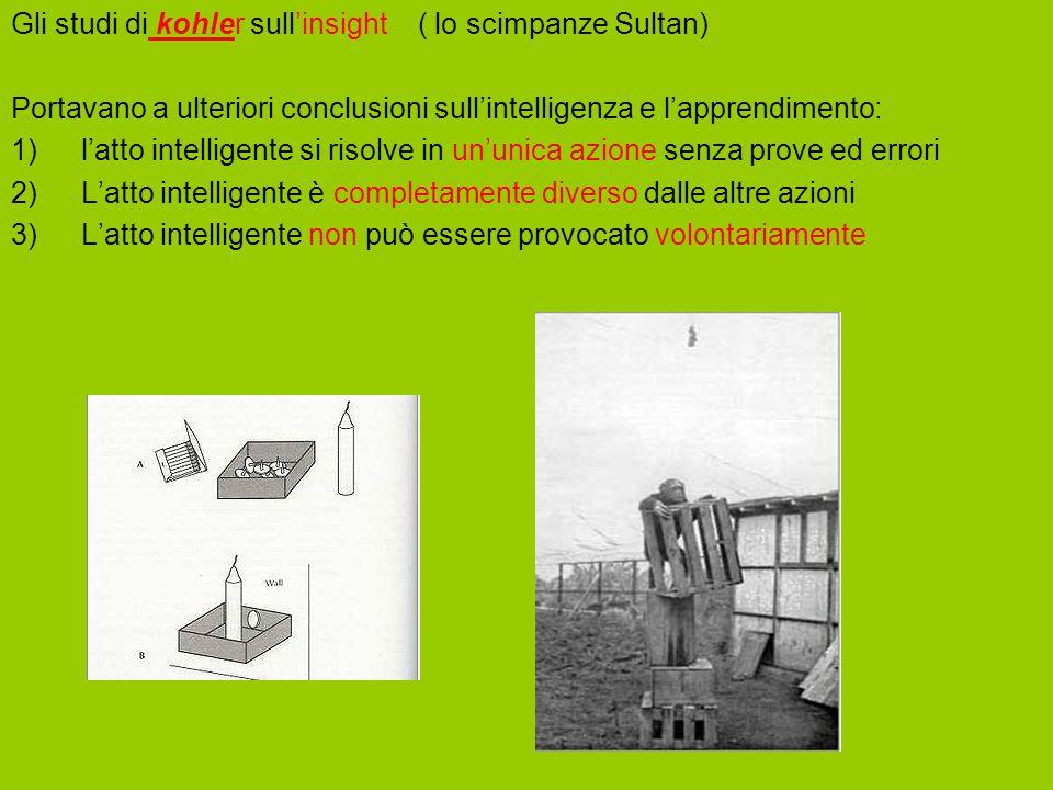 Gli studi di kohler sullinsight ( lo scimpanze Sultan) Portavano a ulteriori conclusioni sullintelligenza e lapprendimento: 1)latto intelligente si ri